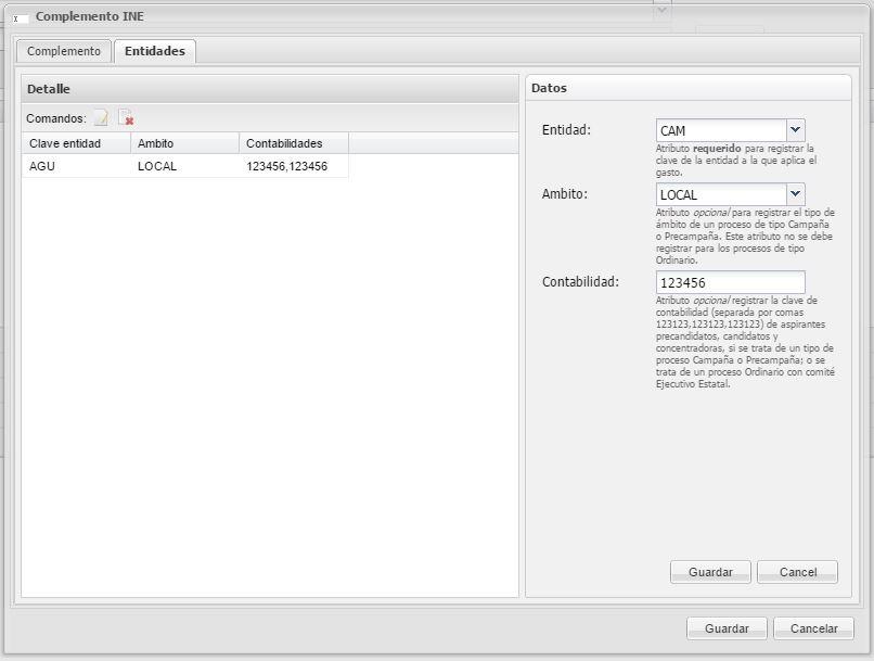 Imagen que muestra formulario para definir entidades dentro del complemento INE